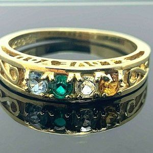 """""""I Love You"""" Ring 10k Gold CZ Multi Colored Size 8"""